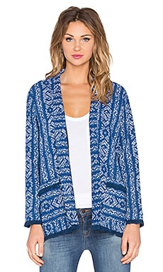 Anya Boho Textured Front Pocket Long Sleeve Cardigan in Navy & White