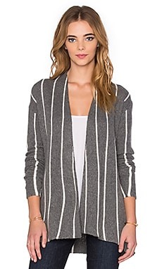 Velvet by Graham & Spencer Destiny Graphic Stripe Long Sleeve Cardigan in Heather Grey
