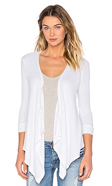 Velvet by Graham & Spencer Keenan Thermal Knit Cardigan in White