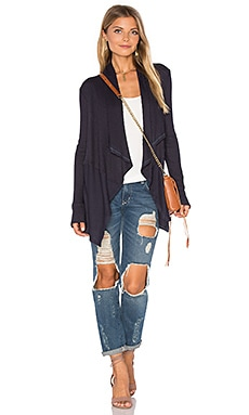 Bertha Draped Front Cardigan in tar