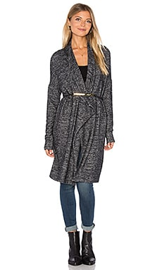Dejavu Long Sleeve Front Draped Cardigan in Marled