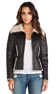 Velvet by Graham & Spencer Pamela Aviator Jacket with Faux Fur in Black