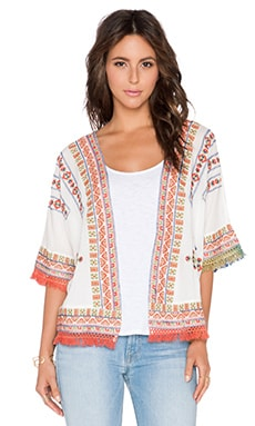 Velvet by Graham & Spencer Adali Embroidered Jacket in Off White