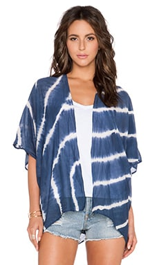 Velvet by Graham & Spencer Fatima Tie Dye Silk Cotton Voile Kimono in Blue