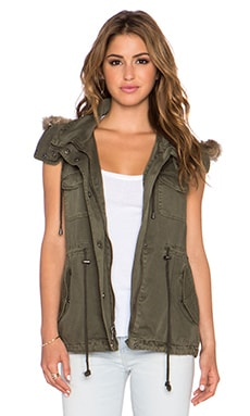 Velvet by Graham & Spencer Odela Army Vest with Faux Fur Trim in Deep Green