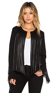 Velvet by Graham & Spencer Tiffany Fringe Jacket in Black