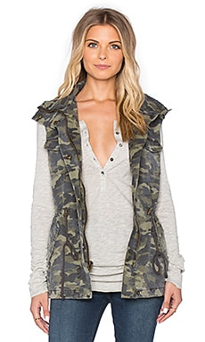 Velvet by Graham & Spencer Blair Army Tied Waist Front Zipper Vest in Camo