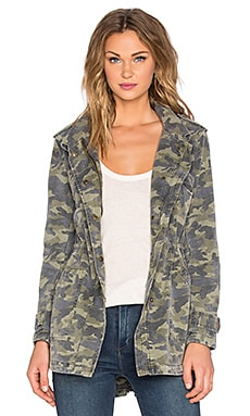 Velvet by Graham & Spencer Darla Army Long Sleeve Tied Waist Front Zipper Jacket in Camo