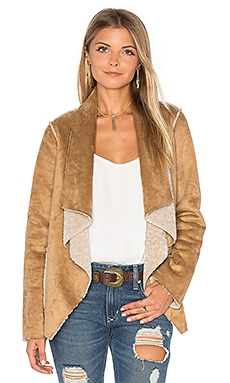 Zariah Drape Front Faux Fur Jacket in Camel