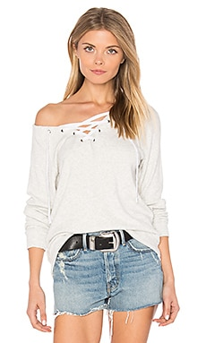 Billow Lace Up Sweatshirt in Ash