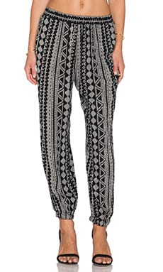 Velvet by Graham & Spencer Adira African Print Pant in Black