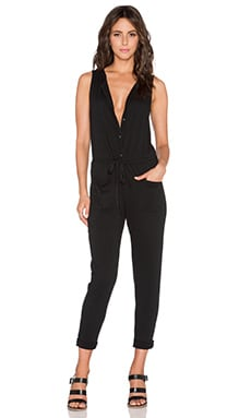 Velvet by Graham & Spencer Cotton Slub Prue Jumpsuit in Black