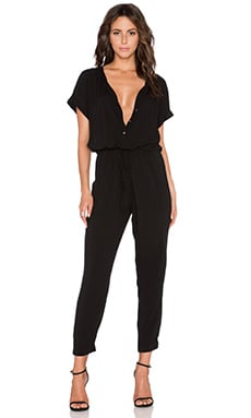 Velvet by Graham & Spencer Cassia Rayon Challis Jumpsuit in Black