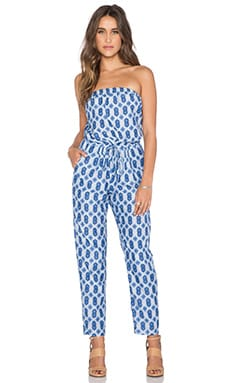 Velvet by Graham & Spencer Idra Nuku Print Jumpsuit in Blue