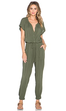 Velvet by Graham & Spencer Cassia Rayon Challis Jumpsuit in Army