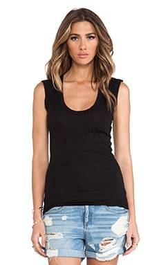 Gauzy Whisper Classics Estina Scoop Neck Tank in Black
