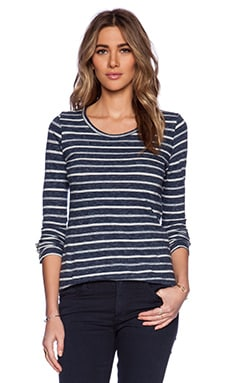 Velvet by Graham & Spencer Marble Stripe Bea Tee in Navy Blue