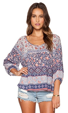 Velvet by Graham & Spencer Eleni Nehru Print Top in Multi