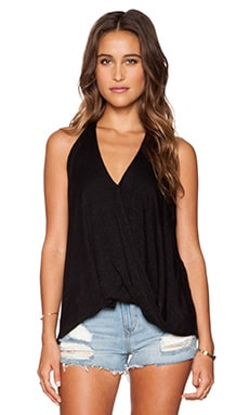 Velvet by Graham & Spencer Fenton Linen Knit Halter in Black