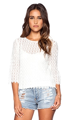 Velvet by Graham & Spencer Spring Lace Bailey Top in White