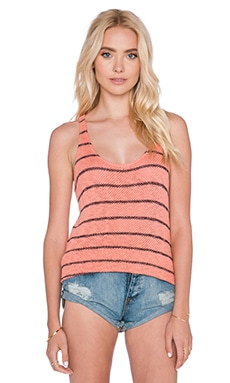 Velvet by Graham & Spencer Anona Cotton Crochet Stripe Tank in Lovebug