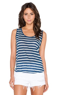Velvet by Graham & Spencer Caddy Linen Stripe Tank in Blue