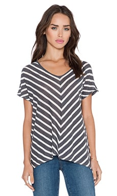 Velvet by Graham & Spencer Eisa Linen Stripe Top in Grey