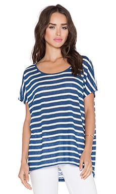 Velvet by Graham & Spencer Honor Linen Stripe Top in Blue