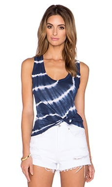 Velvet by Graham & Spencer Tiah Tie Dye Luxe Slub Tank in Blue