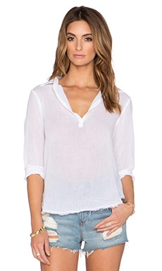 Velvet by Graham & Spencer Veleda Slub Cotton Gauze Top in White