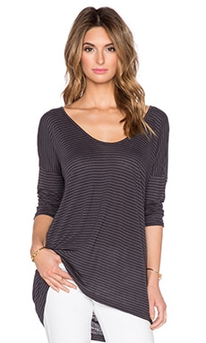 Velvet by Graham & Spencer Alala Linen Rayon Stripe Knit Top in Grey