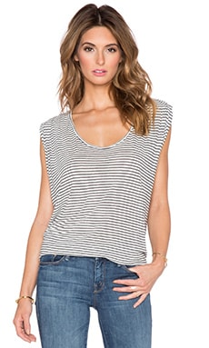 Velvet by Graham & Spencer Ena Linen Rayon Stripe Knit Tank in Cream