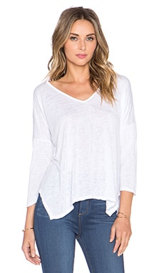 Velvet by Graham & Spencer Belina Sheer Texture Knit Top in White