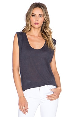 Velvet by Graham & Spencer Malana Linen Knit Tank in Carbon