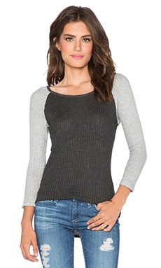 Velvet by Graham & Spencer Lavender Waffle Knit Color Block Top in Anthracite & Heather Grey