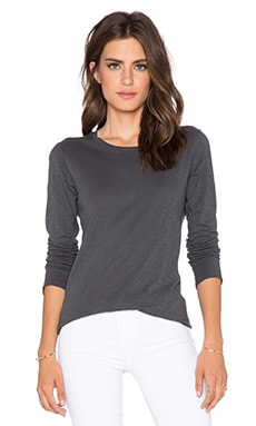 Velvet by Graham & Spencer Zaira Cotton Slub Top in Lead