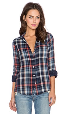 Velvet by Graham & Spencer Ama Plaid Top in Sky
