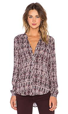 Velvet by Graham & Spencer Adal Printed Challis Long Sleeve Top in Coco