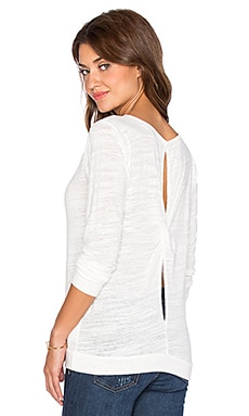 Velvet by Graham & Spencer Carmelita Soft Texture Knit Top in Off White