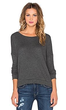 Velvet by Graham & Spencer Sybil Waffle Knit Top in Anthracite