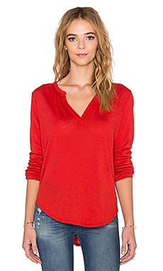 Velvet by Graham & Spencer Chrishelle Lux Slub Henley in Fire
