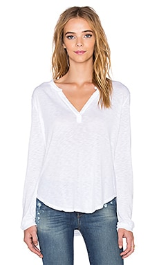 Velvet by Graham & Spencer Chrishelle Lux Slub Henley in White
