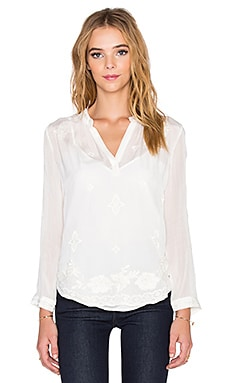 Velvet by Graham & Spencer Emmaline Chiffon Embroidered Blouse in Cream