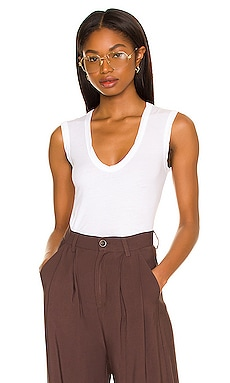 Estina Gauzy Whisper Scoop Neck Tank in White