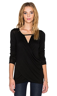 Velvet by Graham & Spencer Suzie Lux Gauze Cross Front Keyhole Top in Black