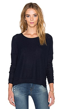 Velvet by Graham & Spencer Tacy Rayon Rib Long Sleeve Tee in Navy