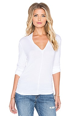 Velvet by Graham & Spencer Waylyn Gauzy Whisper V-Neck Long Sleeve Tee in White