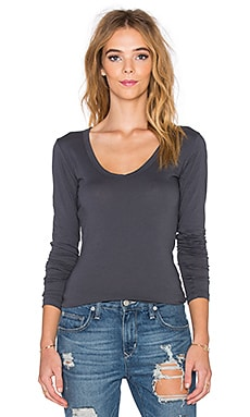 Velvet by Graham & Spencer Zipporah Gauzy Whisper Long Sleeve Tee in Stone