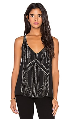 Velvet by Graham & Spencer Ilona Seed Bead Chiffon Tank in Black