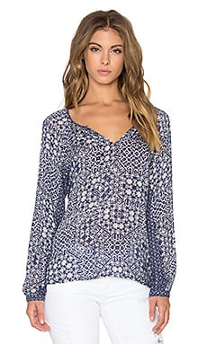 Velvet by Graham & Spencer Tiamaria Casablanca Print Long Sleeve V Neck Top in Navy & Cream